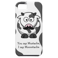 Funny Mustache Mooostache Cow iPhone 5 Case from Zazzle.com