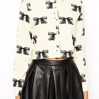 Style London Boxy Shirt in Bow Print