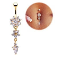 1PC 18K Gold Plated Crystal Flower Dangle Navel Ring Belly Piercing Jewelry (With Thanksgiving&Christmas Gift Box) = 1651451844