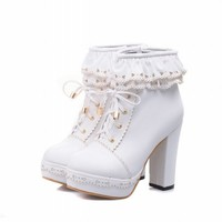 Charm Foot Womens Sweet Lolita Platform Chunky Heel Ankle Boots
