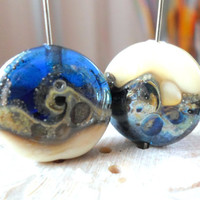 Lampwork Beads, Handmade Glass Beads, Winter Waves on the Shore, Handmade Supplies for Lampwork Jewelry