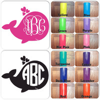 USA Customize Monogram Decal , Personalize Monogram Sticker , Vinyl Decal , Whale Decal , For Your Car , Laptop , Window , Door , phone