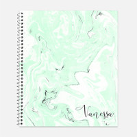 Mint and Grey Marble Notebook, Waterproof Cover, Journal, Personalized Notebook, School Supplies, Marble Look Notebook, College Ruled