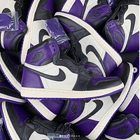 Air Jordan 1 Low couple casual sports shoes Purple