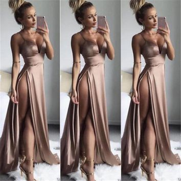 NewWomen Vintage Lace Long Maxi Dress Evening Wedding Party Formal Dresses