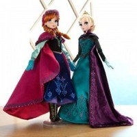 """Disney Store Frozen Limited Edition 17"""" Doll Set including Coronation Elsa and Nordic Princess Anna"""