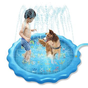 "MsMk Sprinkler for Kids, 68"" Splash Pad, Splash Pad Play Mat, Baby Wading Pool for Toddlers Summer Outdoor Water Toys for Kids ,""from A to Z""Sprinkler Pool"