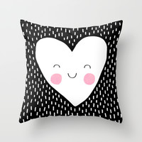 Happy Heart Throw Pillow by Elisabeth Fredriksson