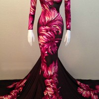 """Fenty Baudelaire Parker Jauregui Floral Gown, Material"""" Silk Stretch with Rayon Undelary, Tulle Undercoat for fullness."""