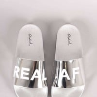 Qupid REAL AF Metallic Slide Sandal