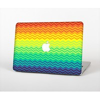 The Rainbow Thin Lined Chevron Pattern Skin Set for the Apple MacBook Air 11""