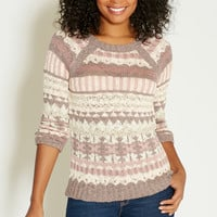 patterned pullover with ribbed hems