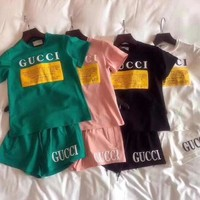 Gucci Print Short sleeve Top Shorts Pants Sweatpants Set Two-Piece