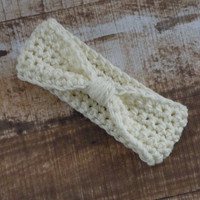 Top Knot Headband Ivory Winter White Ear Warmer Women's Accessories