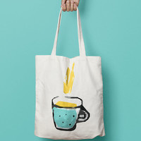 Tea Tote Bag Canvas - Coffee Tote Bag - Coffee Lover Printed Tote Bag - Market Bag - Cotton Tote Bag - Large Canvas Tote - Funny Quote Bag