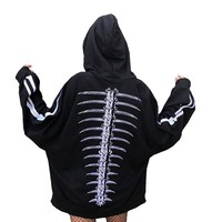 Autumn New Harajuku Hoodies Loose Skeleton Hand Pattern Unisex Hooded Sweatershirt Couple Costumes Pullover