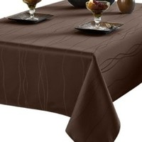 Benson Mills Gourmet Spillproof Heavy Weight Fabric Tablecloth, Chocolate, 60-inch by 84-inch