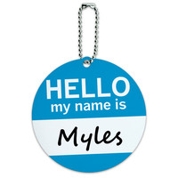Myles Hello My Name Is Round ID Card Luggage Tag