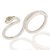 925 Sterling Silver White Topaz And Peridot Snake Two Finger Adjustable Ring