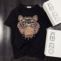 KENZO Classic Popular Women Men Casual Tiger Head Embroidery Short Sleeve Round Collar T-Shirt Pullover Top Black I-AG-CLWM