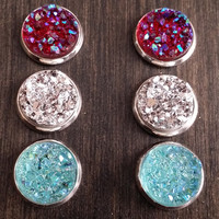 Druzy earring set- Trendy drusy stud set - druzy earrings