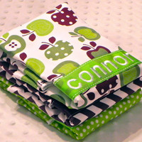 SALE Personalized Burp Cloth Set - Baby Boy Green and Chocolate Brown Apples Chevron and Polka Dots