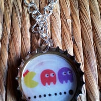 Repurposed Bottle Cap Charm - Singha Beer Thailand Pac Man graphic monster print upcycled necklace charm