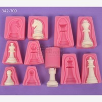 Cool 12pcs/set International Chess King Queen Knight Rook Pawn Bishop Double-Sided Fondant Cake Chocolate Molds Kitchen Baking E337AT_93_12