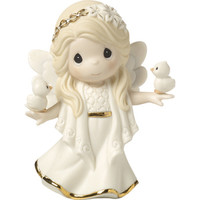 """Precious Moments """"In His Perfect Peace And Love"""", Seventh in Annual Angel Series, Bisque Porcelain Figurine"""