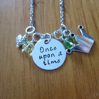 """Disney Inspired Princess Tiana Necklace. """"Once Upon A Time"""". Princess And The Frog. Silver colored, Hand Stamped, Swarovski crystals."""