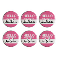 Julian Hello My Name Is Plastic Resin Button Set of 6