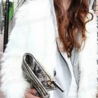 White Faux Fur Long Sleeve Open Front Cropped Coat