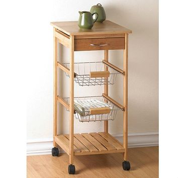 Bamboo Rolling Kitchen Cart with Baskets