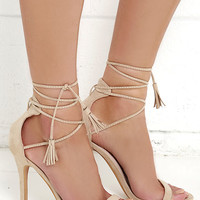 Awe I Want Nude Suede Lace-Up Heels