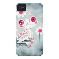 Cute Happy Pink Frog With Daisies Iphone 4 Tough Case from Zazzle.com