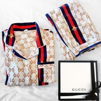 Louis Vuitton LV GG fashion women's printed short-sleeved pajamas casual wear two-piece suit