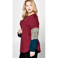 Tunic Top with Leopard Color Block Sleeve Detail