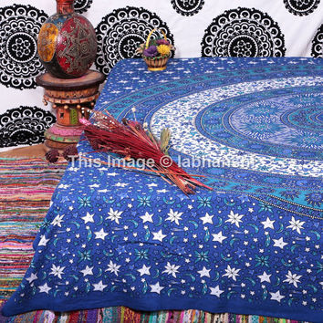 Blue Celestial Star Sun Moon Tapestry , Psychedelic Tapestry, Indian Tapestry,Wall Hanging Tapestry,Queen Dorm Bedding, Sun-Moon Beach Throw