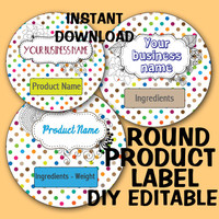 """DIY Polka Dot ROUND """"Editable"""" LABEL Instant Download -Soap labels -Lotion Labels -Body Butter Labels - Product Labels Editable-Scrapbooking"""