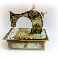 Sewing Machine Sewing Box Sewing Studio Decor Vintage Sewing Organizer Chest of Drawers Sewing Cabinet Sewing Storage Box