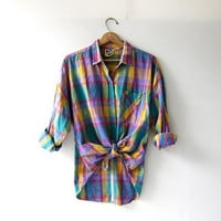 Vintage plaid cotton shirt. Colorful loose fit shirt. Long sleeve tribal shirt. Preppy button up shirt.
