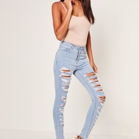 Missguided - Blue Sinner Multi Authentic Rip Skinny Jeans