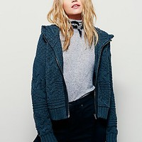 Free People Womens Send Me A Cable Zip Front Hoodie