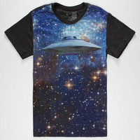 Blue Crown Outta Space Mens T-Shirt Black  In Sizes