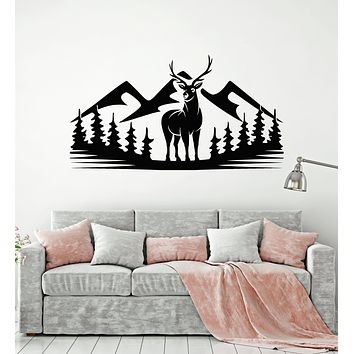 Vinyl Wall Decal Deer Animal Forest Hunting Mountains Nature Stickers Mural (g3459)