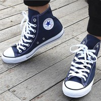 Converse Fashion Canvas Flats Sneakers Sport Shoes Hight top Navy blue