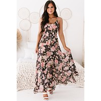 Elegantly Inclined Floral Maxi Dress (Charcoal/Multi)