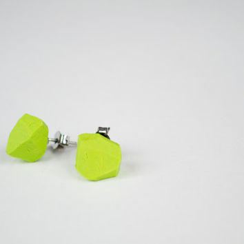 Geometric neon green clay bead earrings