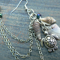ONE sea turtle and shell chained  ear cuff sea turtle seashells cuff in beach mermaid boho gypsy hippie hipster beach and fantasy style