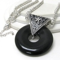 Crystal Avenue Black Donut and Tribal Triangle Necklace Antique Silver Tone